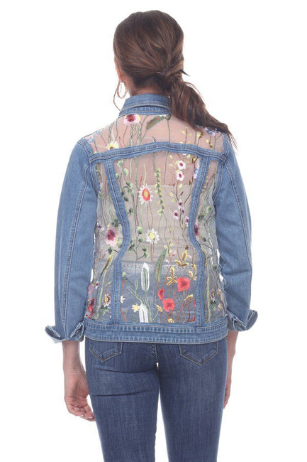 Beautiful  floral embroidery on mesh