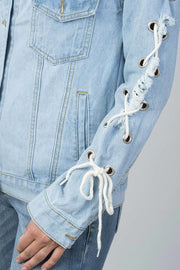 LONG SLEEVE DRAWSTRING DETAIL DISTRESSED BUTTON DOWN DENIM JACKET