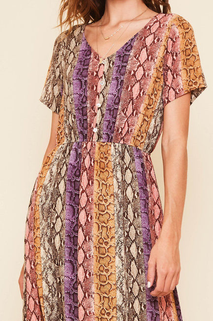 Multi-color snake print maxi dress