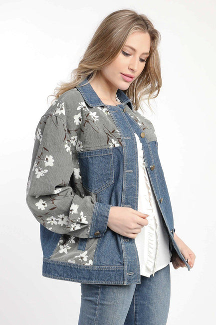 DENIM MIXED FLORAL JACKET