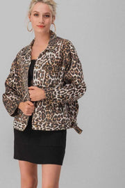 OVER SIZE LEOPARD PRINT BUTTON JACKET