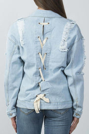 LONG SLEEVE BUTTON DOWN DRAWSTRING LACE UP BACK DISTRESSED DENIM JACKET