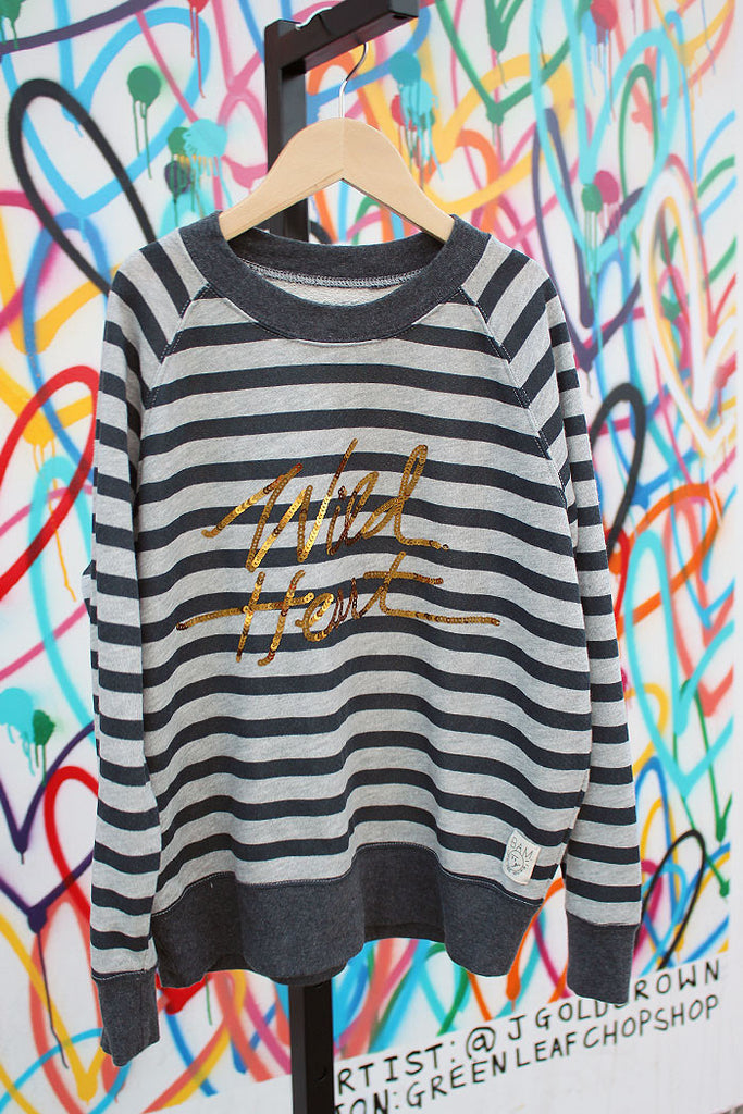 Wild Heart Striped Sweatshirt - Bam Kids