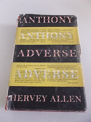 Anthony Adverse by Hervey Allen, HC DJ, 1956
