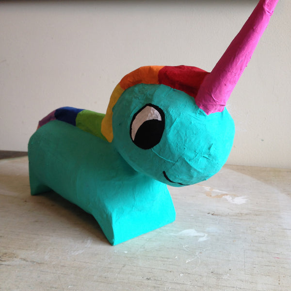 custom unicorn pinata green and pink