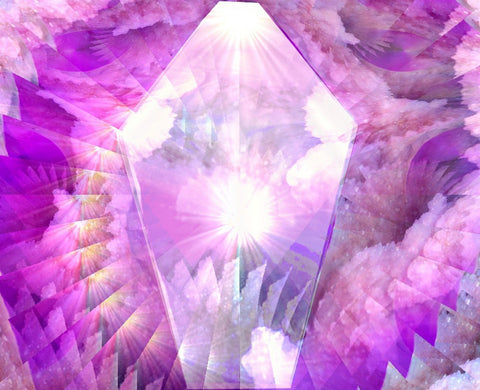 Pink Spiral Reiki Energy Art Print Crystal Abstract Art Wall Decor