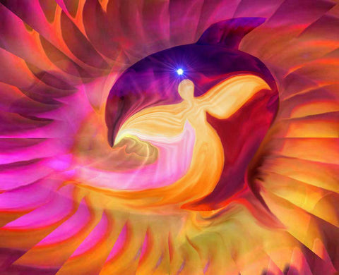 Angel Art Reiki Golden Dolphin Swirl Energy Art Print