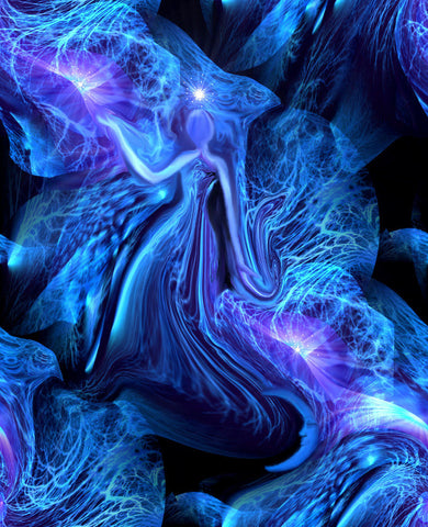 Figure Art Goddess Reiki Healing Digital Painting Energy Art Print Blue 8 x 10