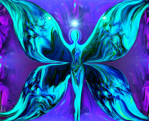 Energy Art Purple Teal Reiki Wall Decor  Abstract Butterfly Goddess  8 x 10 Print