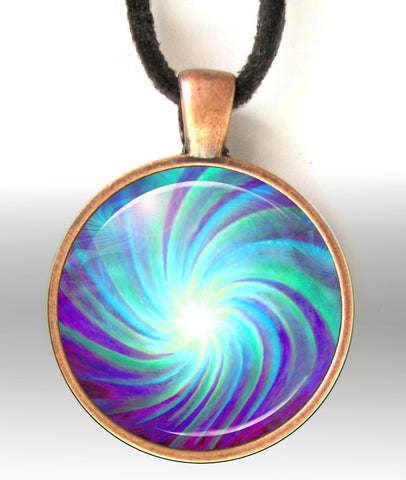 Chakra Pendant Reiki Jewelry Energy Art Pendant Necklace Blue Swirl