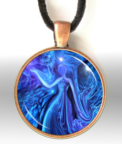 Blue Pendant Necklace, Energy Art, Reiki Jewelry
