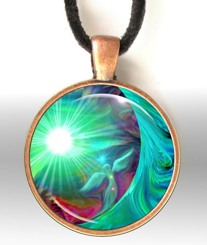 Chakra Jewelry Energy Art Pendant Necklace Reiki Angel Necklace