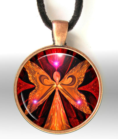 Red Jewelry Necklace Angel Pendant Chakra Jewelry