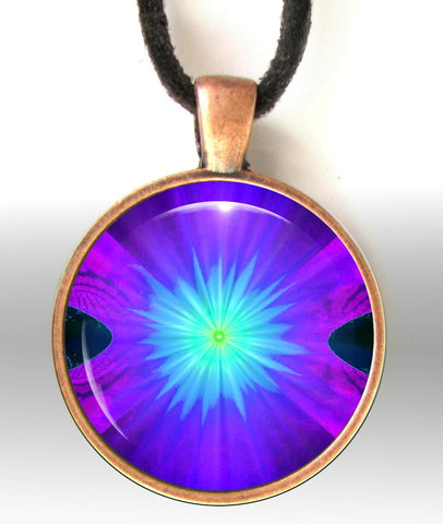 Purple Necklace Chakra Jewelry  Reiki Pendant  Energy Necklace