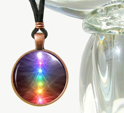 Chakra Necklace, Reiki Jewelry, Rainbow Pendant