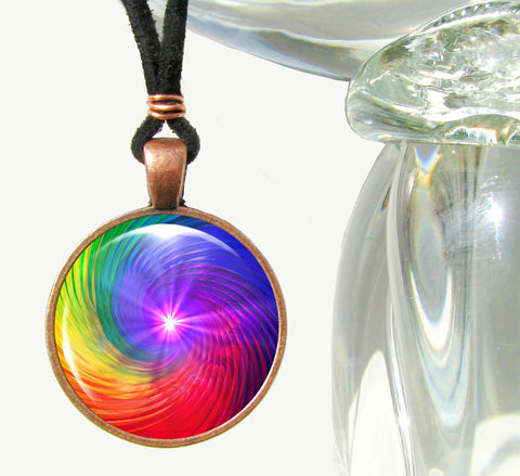 Rainbow Chakra Swirl Pendant Necklace Spiritual Energy