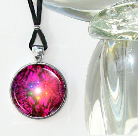 Chakra Jewelry Red Energy Pendant Reiki Healing Necklace Silver