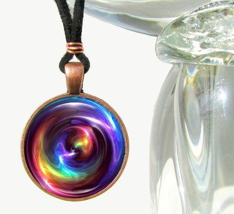 Chakra Necklace, Rainbow Jewelry, Psychedelic Art