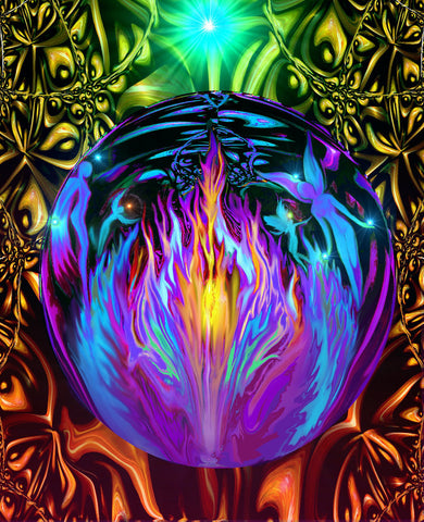 Violet Flame Psychedelic Wall Decor