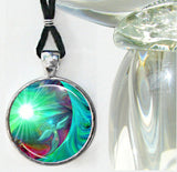 Green Heart Chakra Necklace Angel Art Reiki Jewelry Round Silver