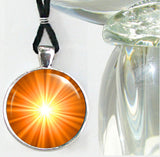 Orange Accessory Necklace Chakra Jewlery Energy Art Pendant Silver