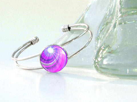 Purple Jewelry Reiki Energy Bracelet Chakra Jewelry Third Eye