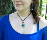 Green Necklace Heart Chakra Pendant Reiki Energy Jewelry Silver