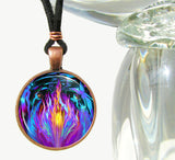 Violet Flame Angel Necklace Reiki Energy Pendant