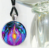 Violet Flame Necklace Psychedelic Chakra Jewelry Reiki Healing Angels Silver