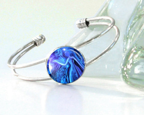 Reiki Energy Healing Blue Bracelet Unique Jewelry Wearable Art