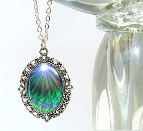 Chakra Jewelry Reiki Energy Necklace Blue Green Pendant Necklace