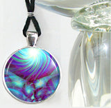 Chakra Jewelry Reiki Energy Pendant Necklace Abstract Blue Reiki Necklace Silver