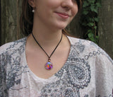 Abstract Wearable Art Rainbow Chakra Necklace Reiki Jewelry Energy Pendant