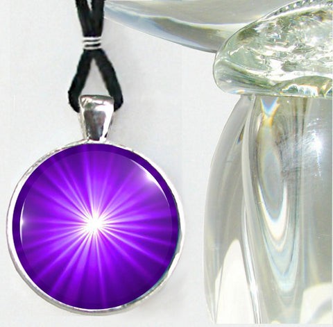 Purple Jewelry Starburst Third Eye Chakra Necklace Reiki Energy Pendant Silver
