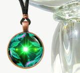 "Green Necklace, Angel Art, Heart Chakra, ""Angel Hearts"""