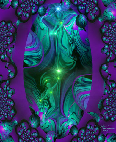 Purple Wall Decor Abstract Art Reiki Energy Art Angel Decor 8 x 10 Print Green