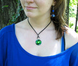 Green Necklace Angel Art Chakra Jewelry Reiki Energy Art Pendant Necklace