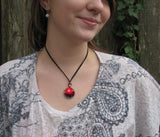 Red Necklace Abstract Art Reiki Energy Healing Pendant Chakra Jewelry
