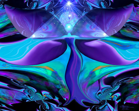 Reiki Wall Decor Teal Purple Energy Art