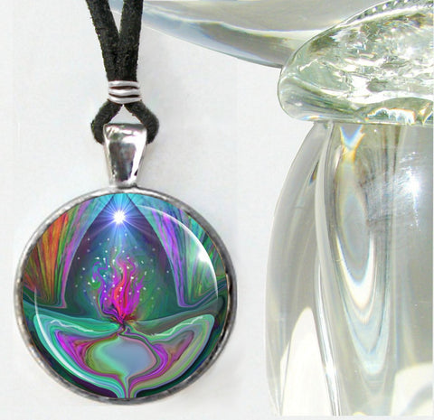 Chakra Jewelry Reiki Necklace Violet Flame Pendant Unique Jewelry Silver