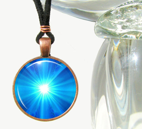 Chakra Necklace Blue Energy Art Reiki Jewelry Pendant Wearable Art