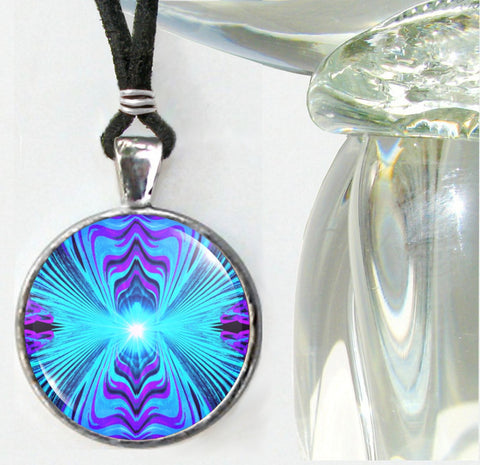 Chakra Art Reiki Energy Necklace Purple Teal Jewelry