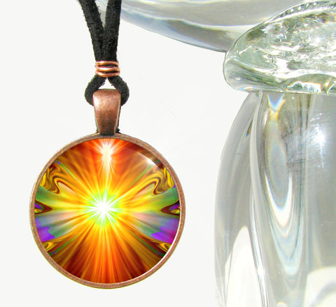 Psychedelic Necklace Chakra Art Handmade Jewelry Reiki Pendant