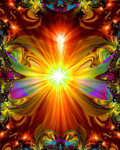 "Psychedelic Wall Decor, Chakra Art, Digital Design, Reiki Healing, ""Light Being"""