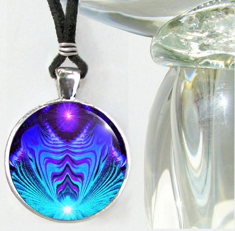 Teal & Purple Necklace, Abstract Art, Chakra Jewelry