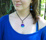 "Teal & Purple Necklace, Abstract Art, Chakra Jewelry, ""Intuitive Truth"""