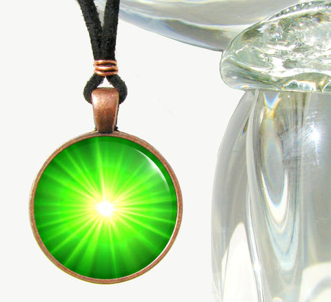 Green Heart Chakra Necklace Energy Art Pendant Reiki Jewelry Wearable Art