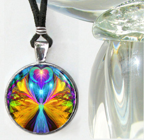 Psychedelic Angel Necklace Chakra Art Jewelry Reiki Pendant Silver
