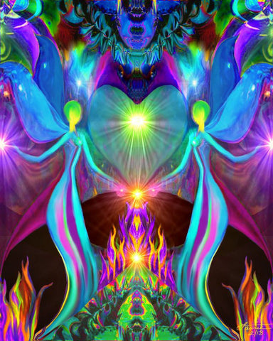 Violet Flame Chakra Art Twin Flames Angel Heart  8 x 10 Print