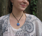 Twin Flames Necklace Violet Flame Heart Chakra Art Jewelry